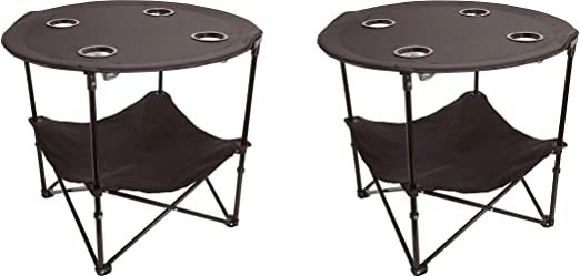 Polyester with Metal Frame 4 Mesh Cup Holders Black Preferred Nation Folding Table Convenient  Carry Case Included Compact