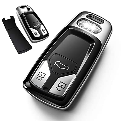 Autophone for Audi Key Fob Cover Case Premium Soft TPU 360 Degree Entire Protection Key Shell Key Case Compatible with Audi A4 A5 Q5 Q7 TT TTS S4 S5 RS4 RS5 Smart Key (only for Keyless go)-Silver: Automotive
