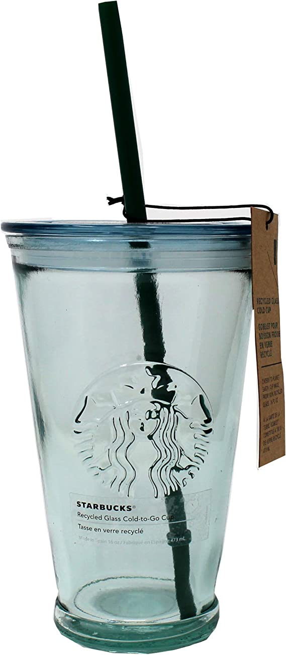 Amazon Com Starbucks Recycled Glass Cold Cup 16 Fl Oz Kitchen Dining