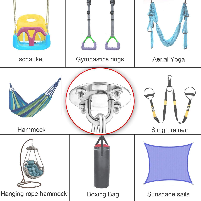 sillas capacidad de 500 kg Ganchos ultra duraderos para columpios m/últiples gimnasios interiores y exteriores Kit de ganchos colgantes para hamacas yoga