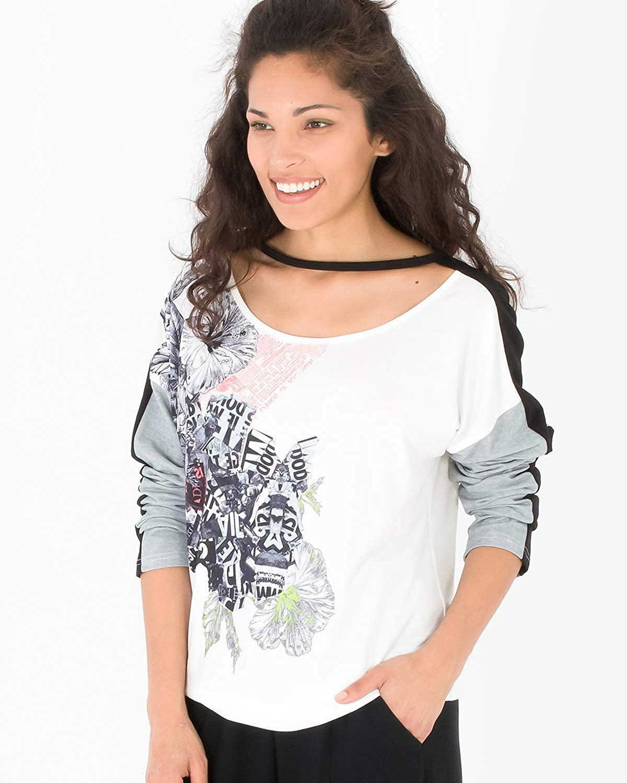Camiseta de Estilo Casual Deportiva con Estampado Posicional Floral Camiseta de Manga Larga con Cuello Redondo para Mujer T-Shirt Penelope Smash