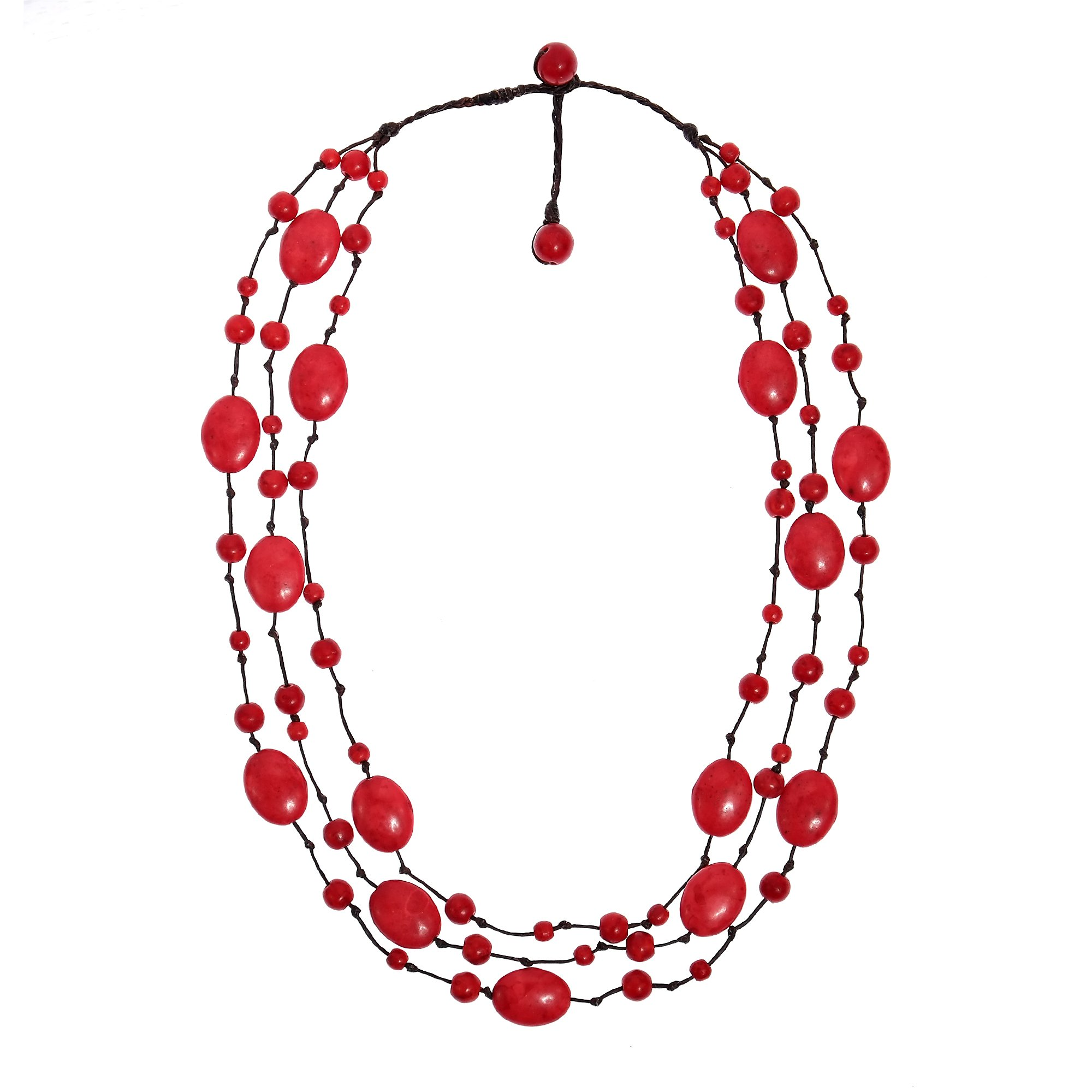 AeraVida Reconstructed Red Coral Triple Layer Floating Bubble Cotton Rope Necklace
