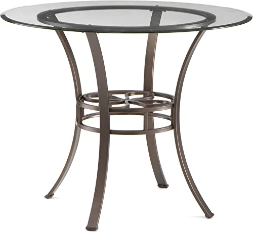 Lucianna Round Dining Table – Glass Top w Brown Metal Frame – Chic Finish