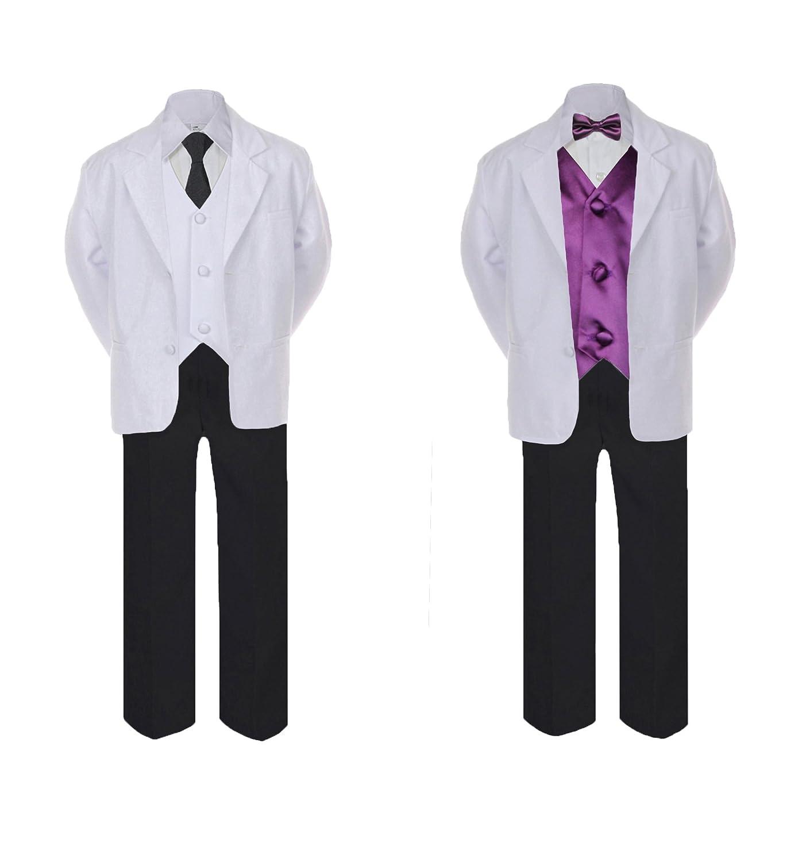 Unotux 5-7pc Formal Black White Suit Set Eggplant Bow Long Tie Vest Boy Baby Sm-20 Teen