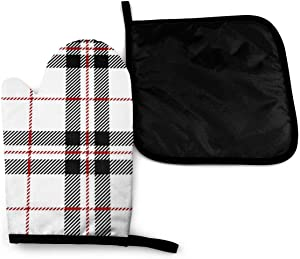 Lozeow Mitts Whitered Black Tartan Plaid Scottish Seamless Oven Gloves Heat Resistant – Silicone Quilted Non Slip Mitts for Handling Hot Surface