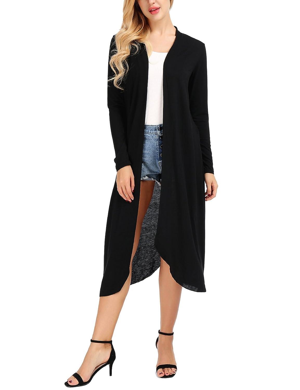 Black Uniboutique Women's Casual Open Front Long Sleeve Cardigans Sweater (SXXXL)