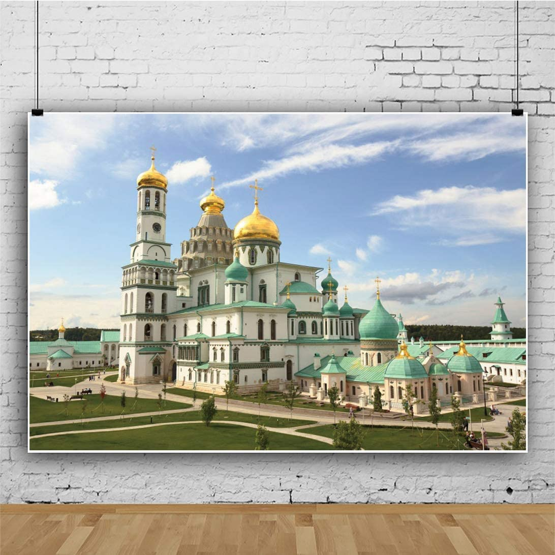 CSFOTO 10x8ft New Jerusalem Monastery Backdrop White and Blue Monastery Event Background for Photography Interior Room Decor Wallpaper Audlts Photo Booth