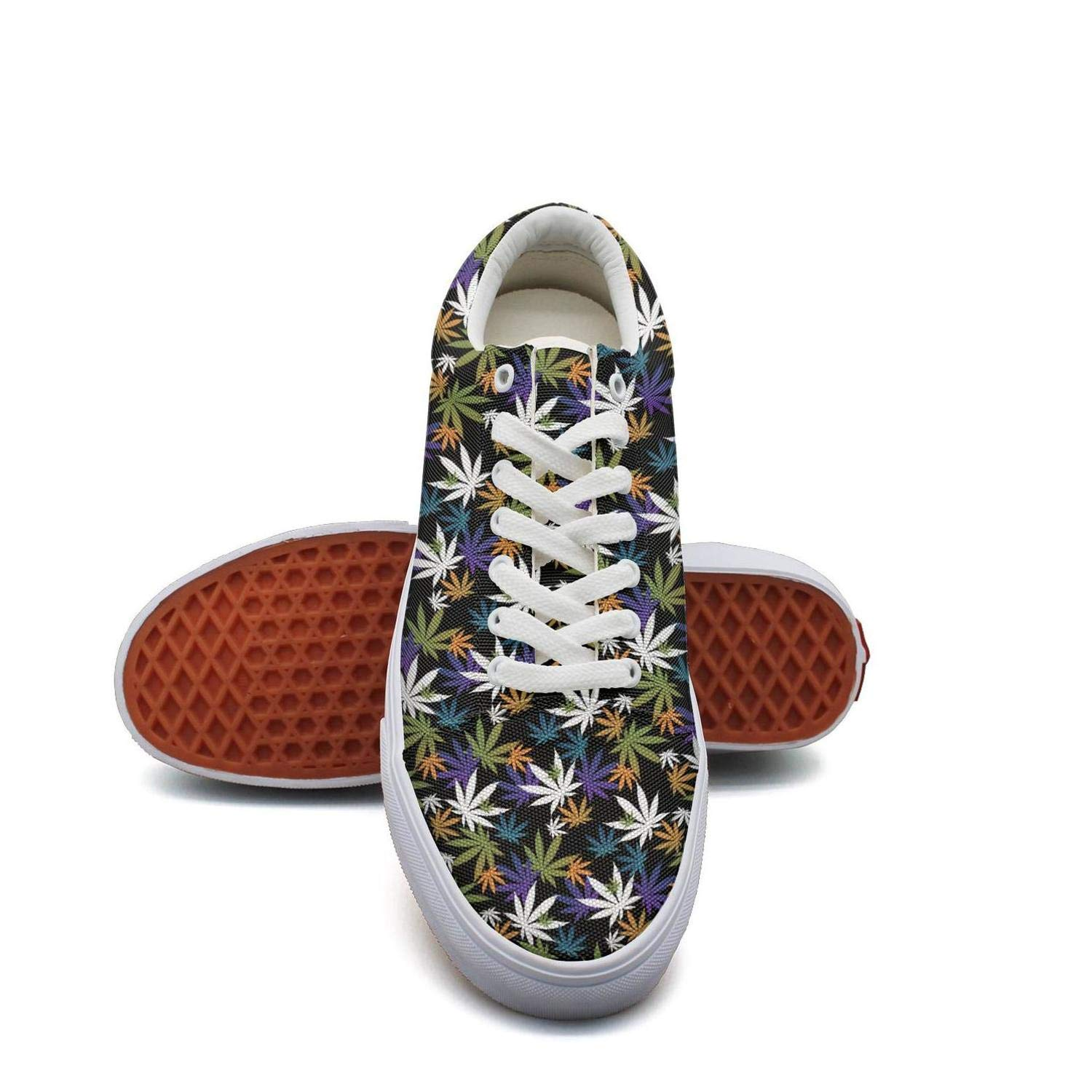 Opr7 Vintage Cannabis Flowers Women Lace-Up Skate Shoes Canvas Upper Loafer Rubber Sole