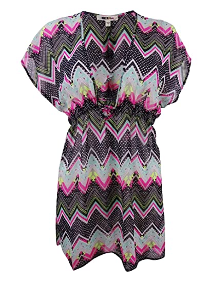 5a1de0b38380f Miken Juniors Chevron-Print Chiffon Cover-up at Amazon Women's Clothing  store: