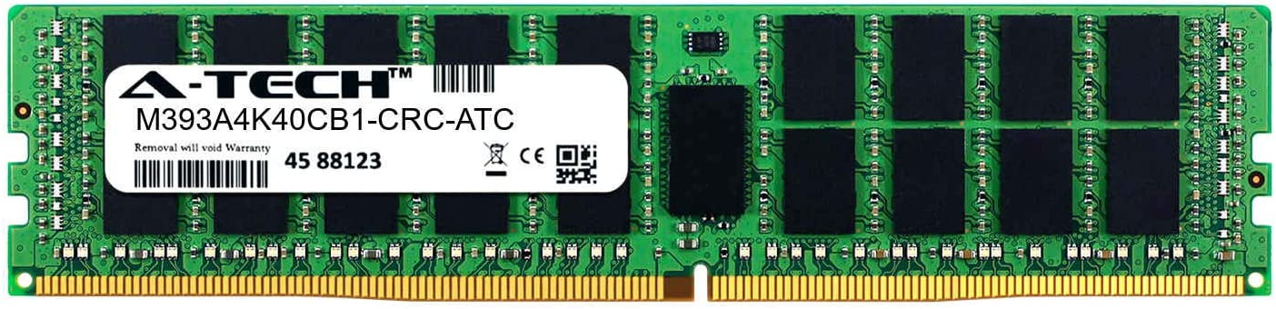 DDR4 2400MHz PC4-19200 ECC Registered RDIMM 2rx4 1.2v A-Tech 32GB Replacement for Samsung M393A4K40CB1-CRC M393A4K40CB1-CRC-ATC Single Server Memory Ram Stick