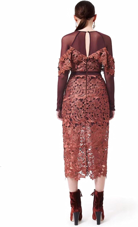 Trendy-Nicer Runway Women Long Sleeve Hollow Flower Patchwork Dress