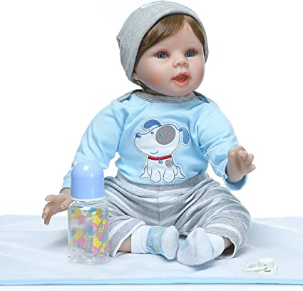 """Realistic Boy Baby Doll Clothes Blue Eye Weighted 20/"""" Vinyl Lifelike Brown Hair"""