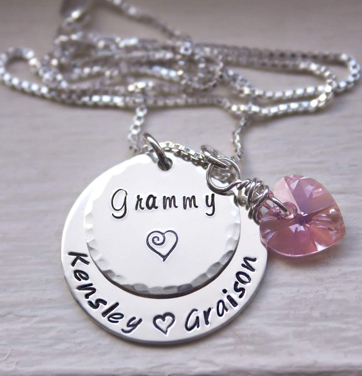 c22158eff Amazon.com: Custom Personalized Grandma Necklace, Mommy Jewelry, with Kids  Names, Hand Stamped Sterling Silver Necklace: Handmade