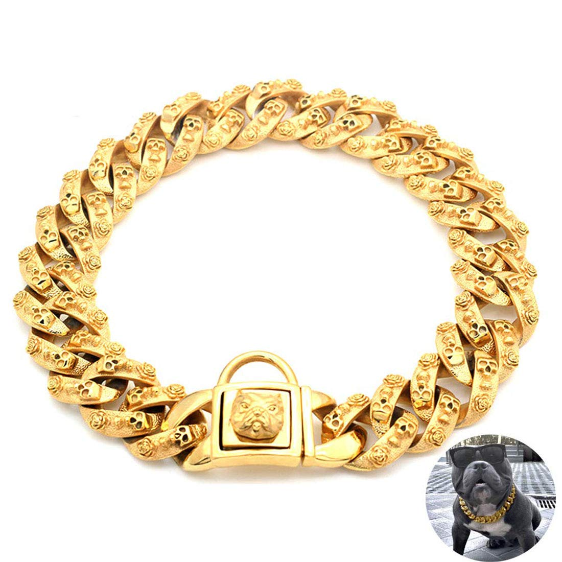 MYTMCW Gold Dog Chain Collar, Stainless Steel Training Collar, Heavy Duty Cuban Link Gold Plated Large Pet Dogs Necklace Choke for Bully Pitbull, Mastiff, Big Breeds,60cm
