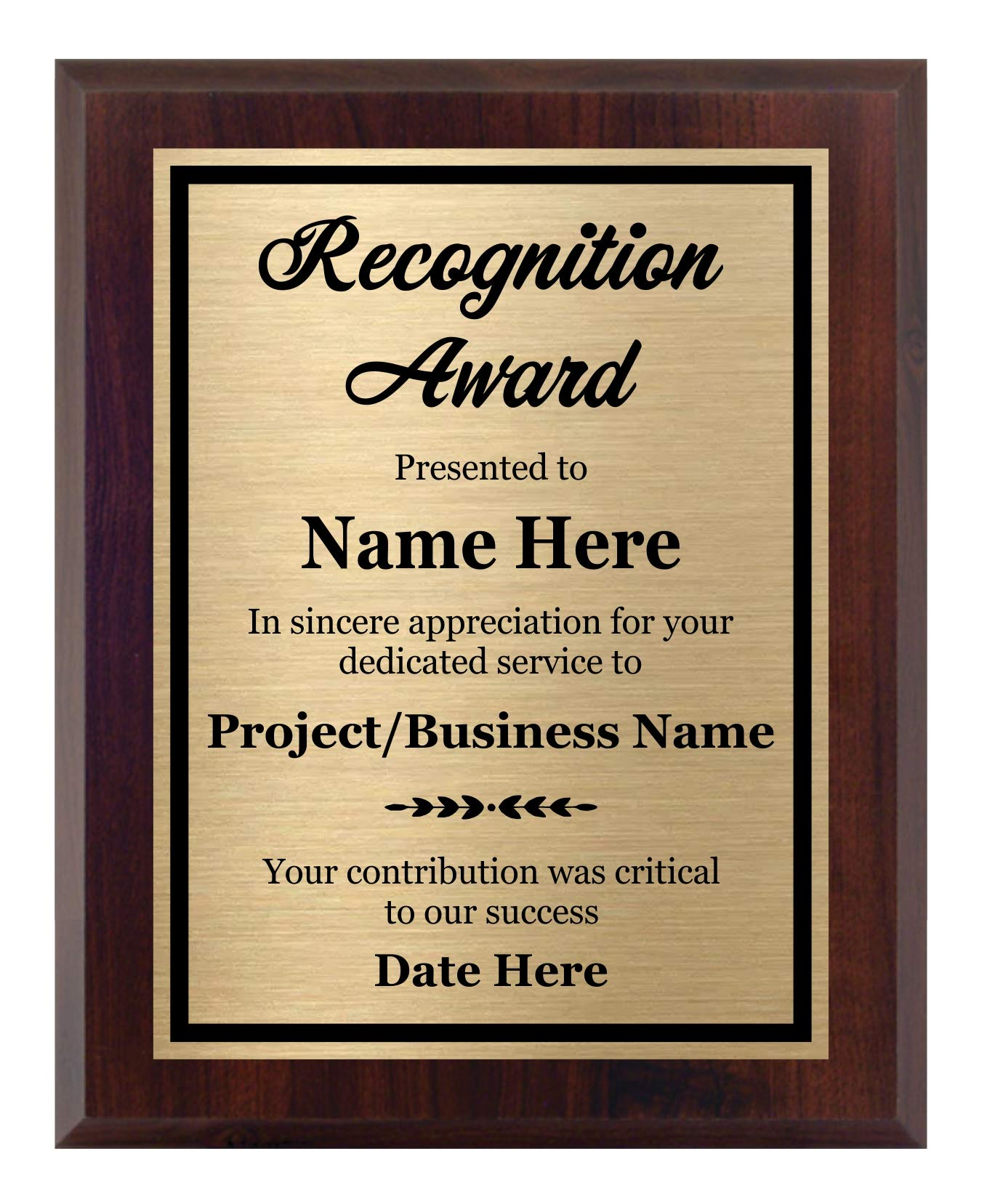 Recognition Plaque 8x10 - Personalized Award, Customize Now! by Awards4U