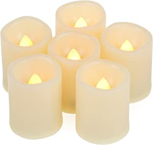 6 Flameless Votive Tealight Candles with 6-hour Daily Cycle Time Flickering Battery Operated Electric Electronic LED Tea Lights, Christmas Décor Xmas Lighting Wedding Party Decorations Batteries Incl.