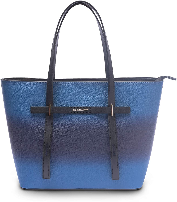 14-Inch Laptop Bag for Women Gradient Leather Tote Bag Shoulder Bag Ladies Business Handbag Purse