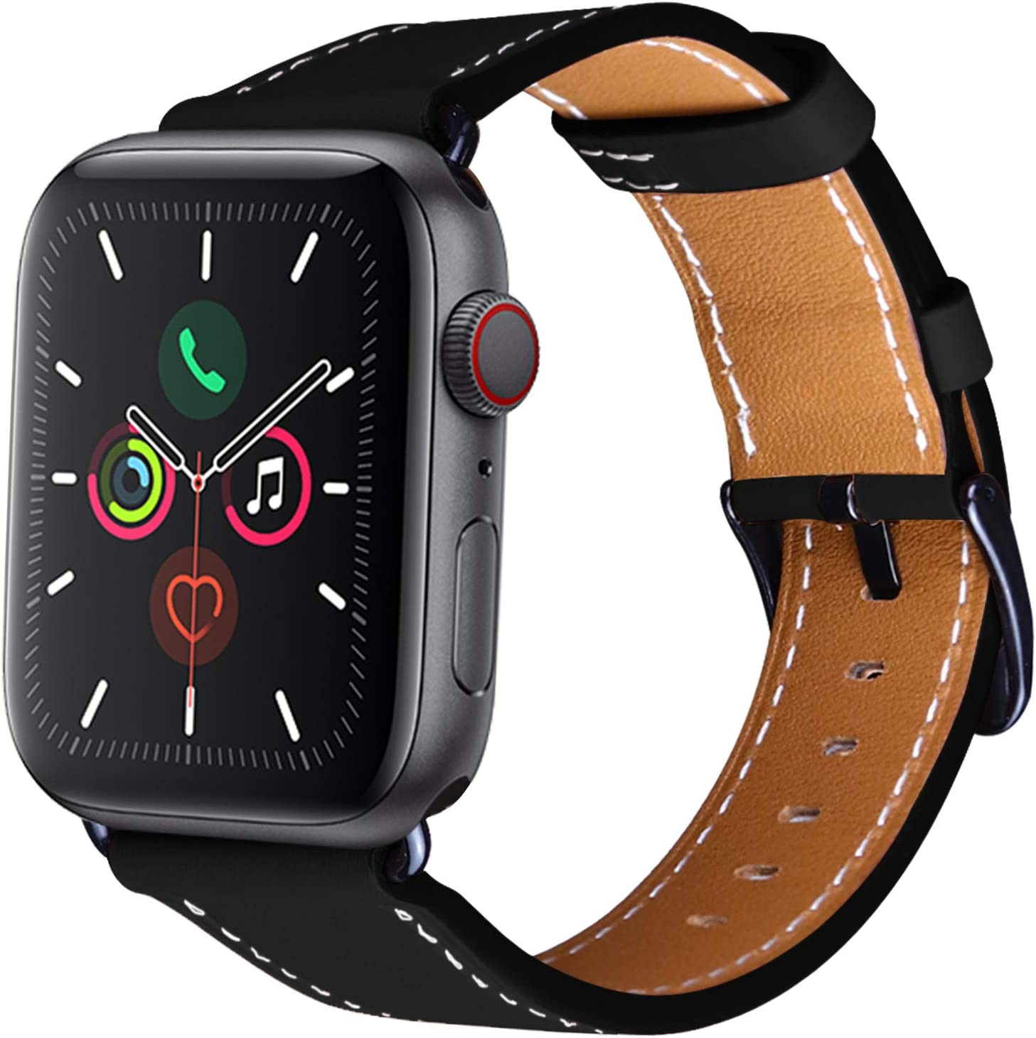 OMECKY Watch Strap Compatible with Apple Watch Leather Band Series 6/5 / 4, SE (44mm) Series 3/2 / 1 (42mm), Black