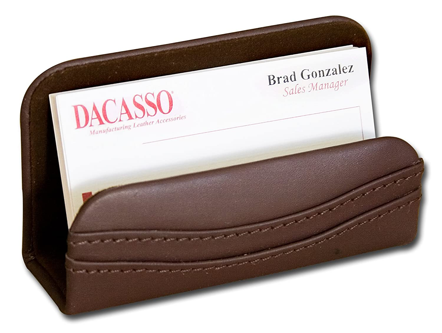 Amazon.com: Dacasso Chocolate Brown Leather Business Card Holder ...