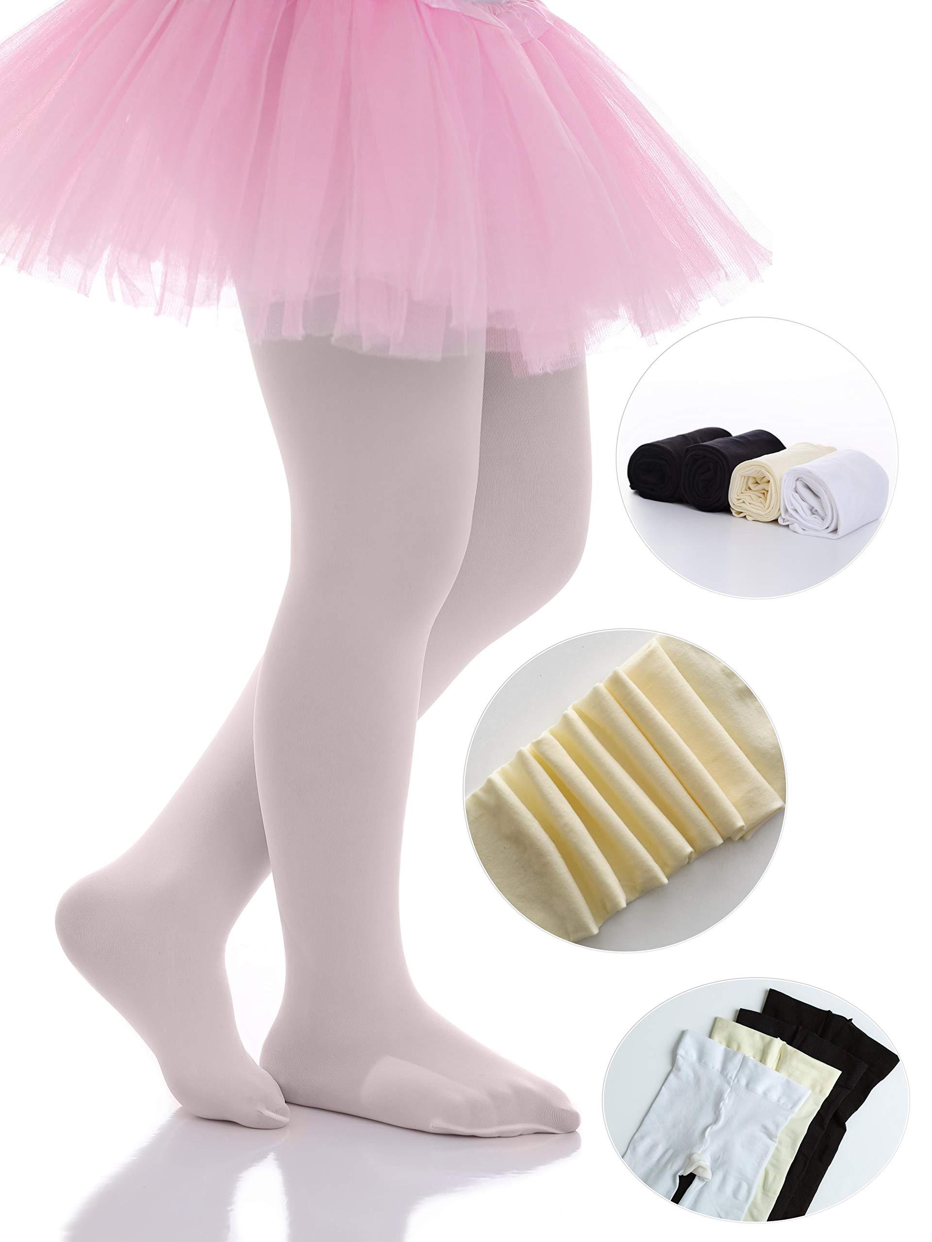 Girls White and Pink 70 denier Ballet dancewear stage costume dress tights