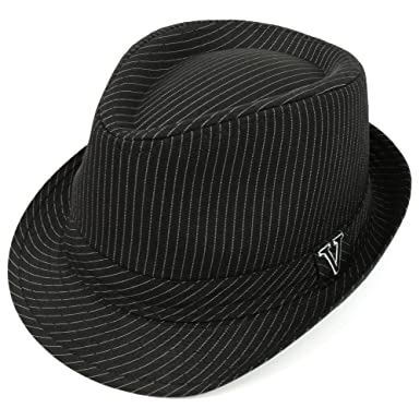 Trendy Apparel Shop Thin Pinstriped Fedora Hat With V Embroidered Hat Band  - Black - SM f58e3d37201