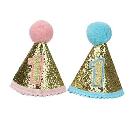 IDS 2Pcs Small Dog Birthday Hat For Pets 1 Year Old Party Cat