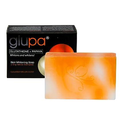 Glupa Jabón blanqueador con glutatión y Papaya – Más vitaminas C y E, arbutina y extracto de semillas de uva – pastilla de 65 g: Amazon.es: Belleza