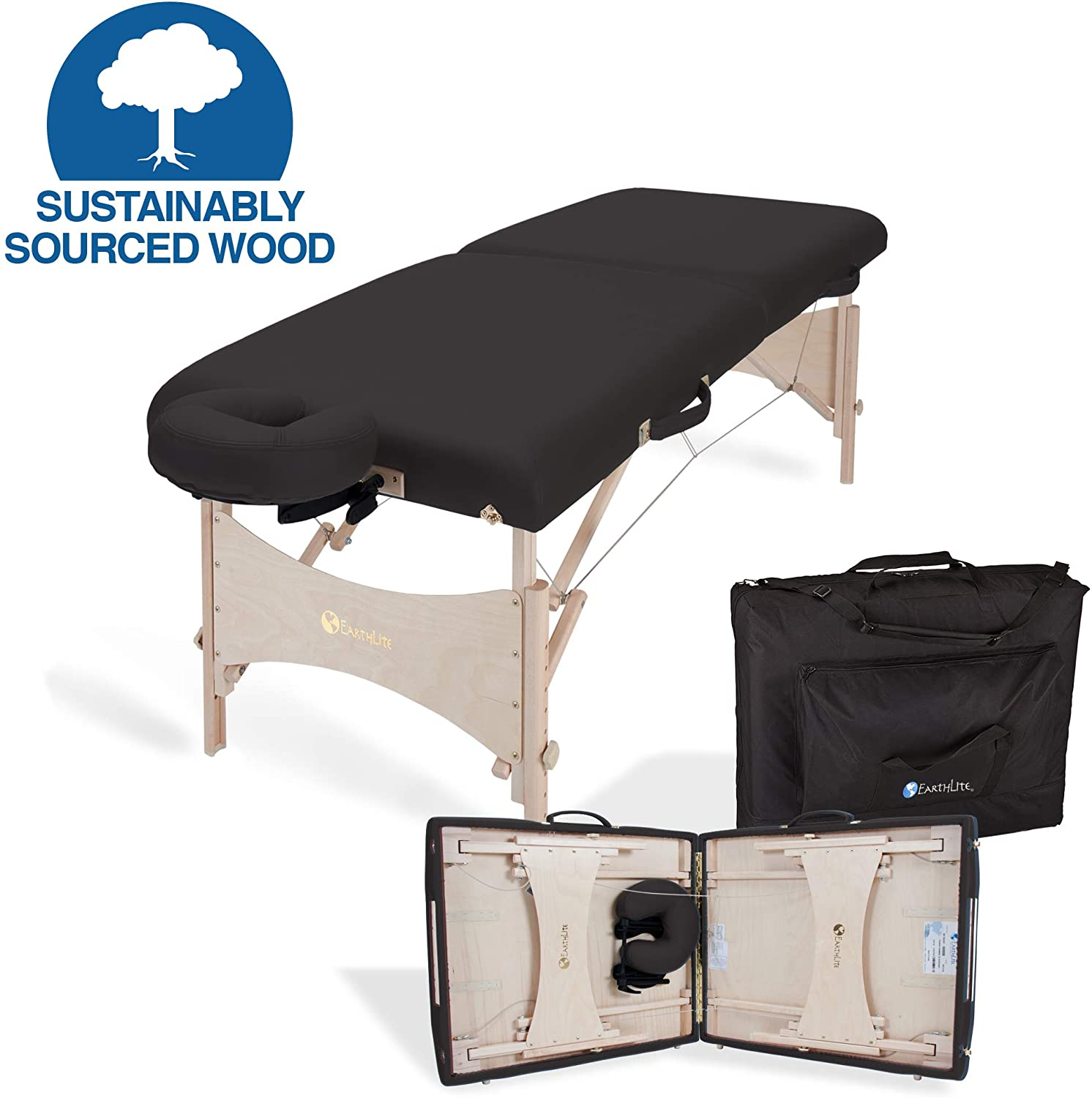 EARTHLITE Portable Massage Table HARMONY DX – Foldable  Physiotherapy/Treatment/Stretching Table, Eco-Friendly Design, Hard Maple,  Superior Comfort