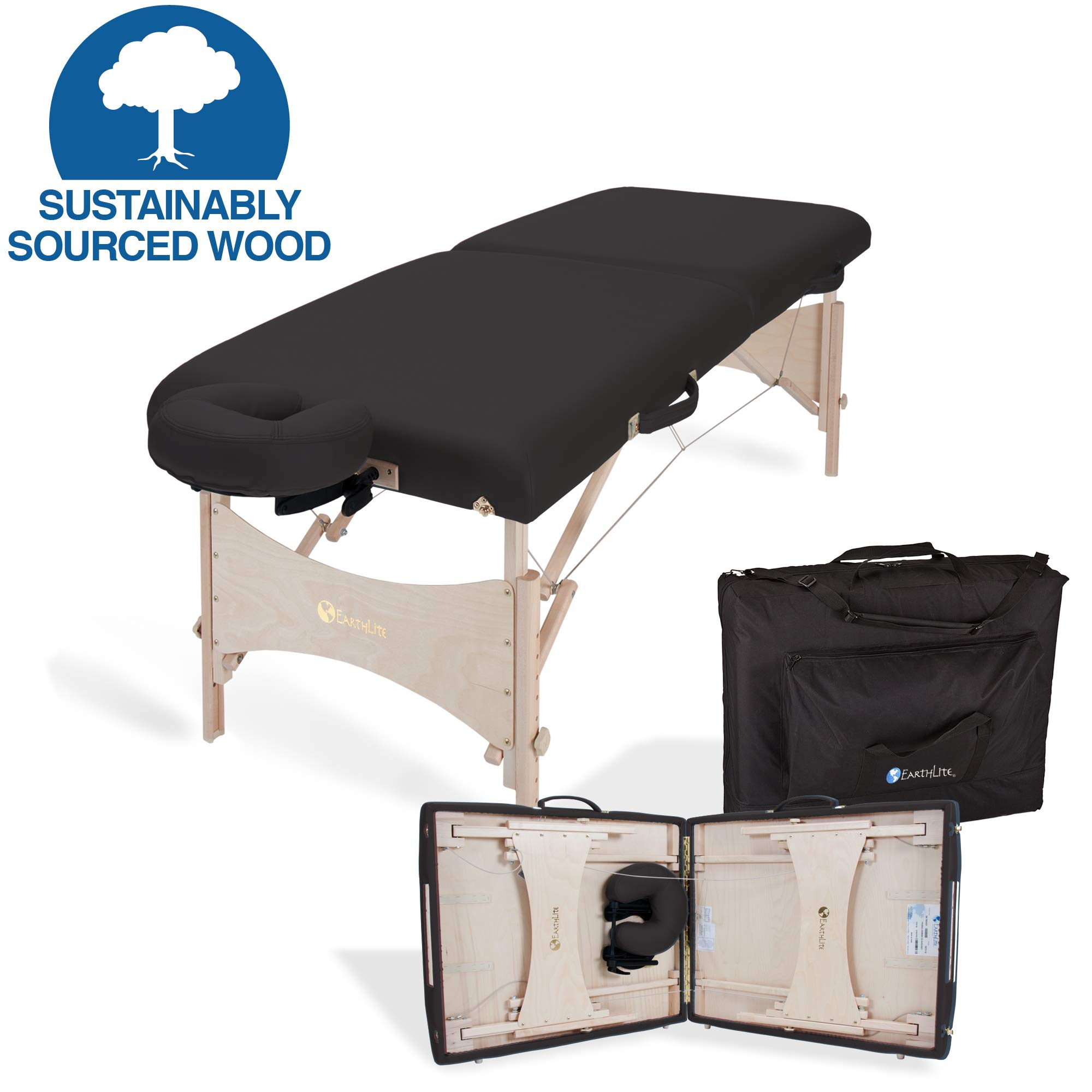EARTHLITE Portable Massage Table HARMONY DX - Eco-Friendly Design, Hard Maple, Superior Comfort, Deluxe Adjustable Face Cradle, Heavy-Duty Carry Case (30'' x 73''), Black by EARTHLITE