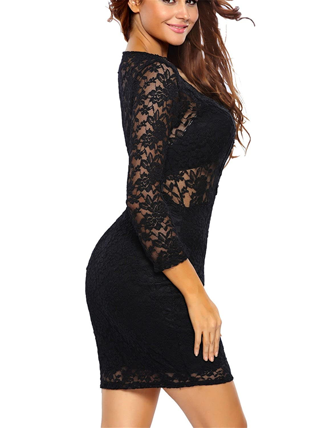 Frozac Mujeres Sexy Negro Encaje Mini Vestidos New Otoño Nueva Moda V Profundo Club nocturno Bodycon Vestidos Black XXL at Amazon Womens Clothing store: