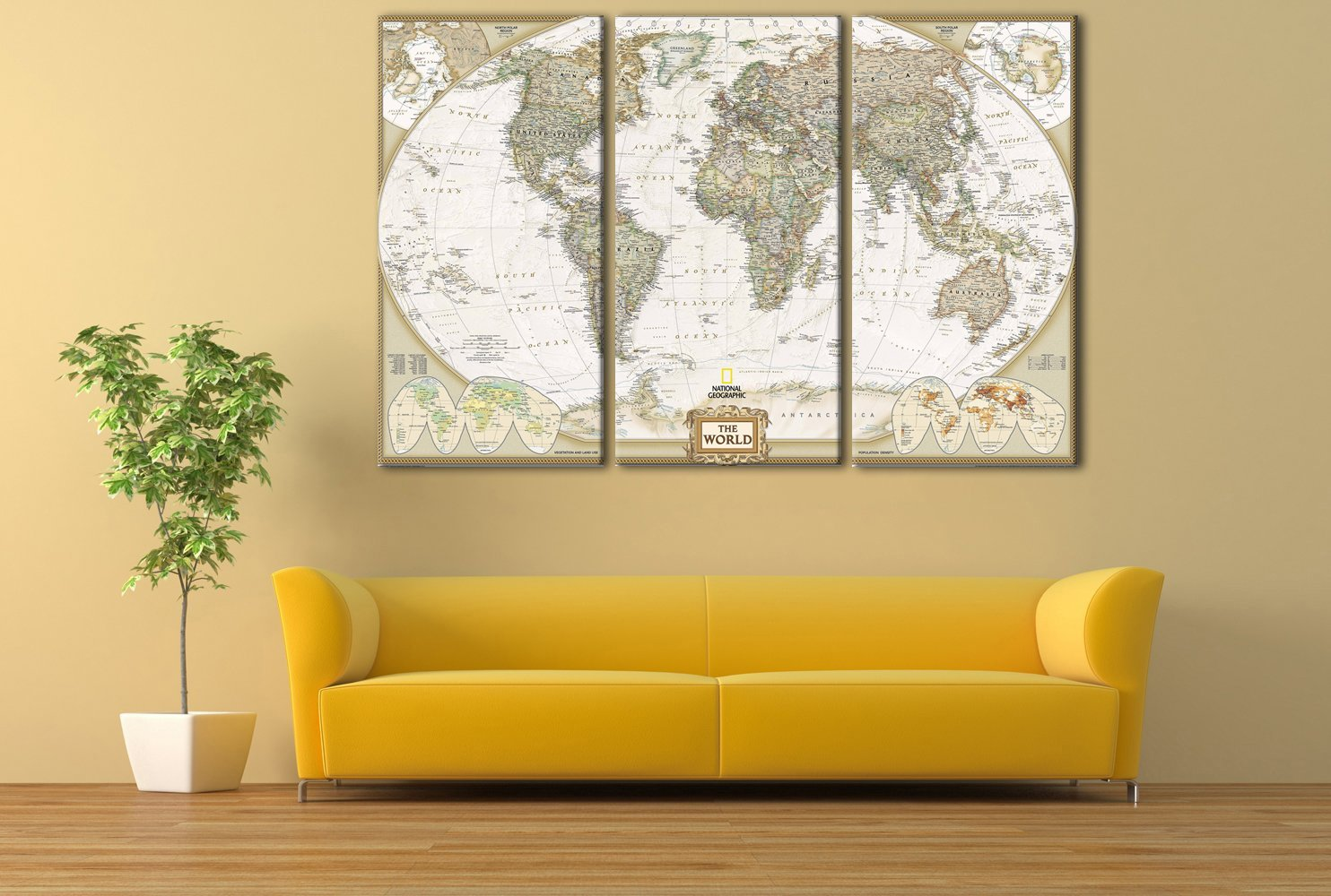 Amazon.com: Map Painting for Wall Office Decor Modern Giclee Wall ...