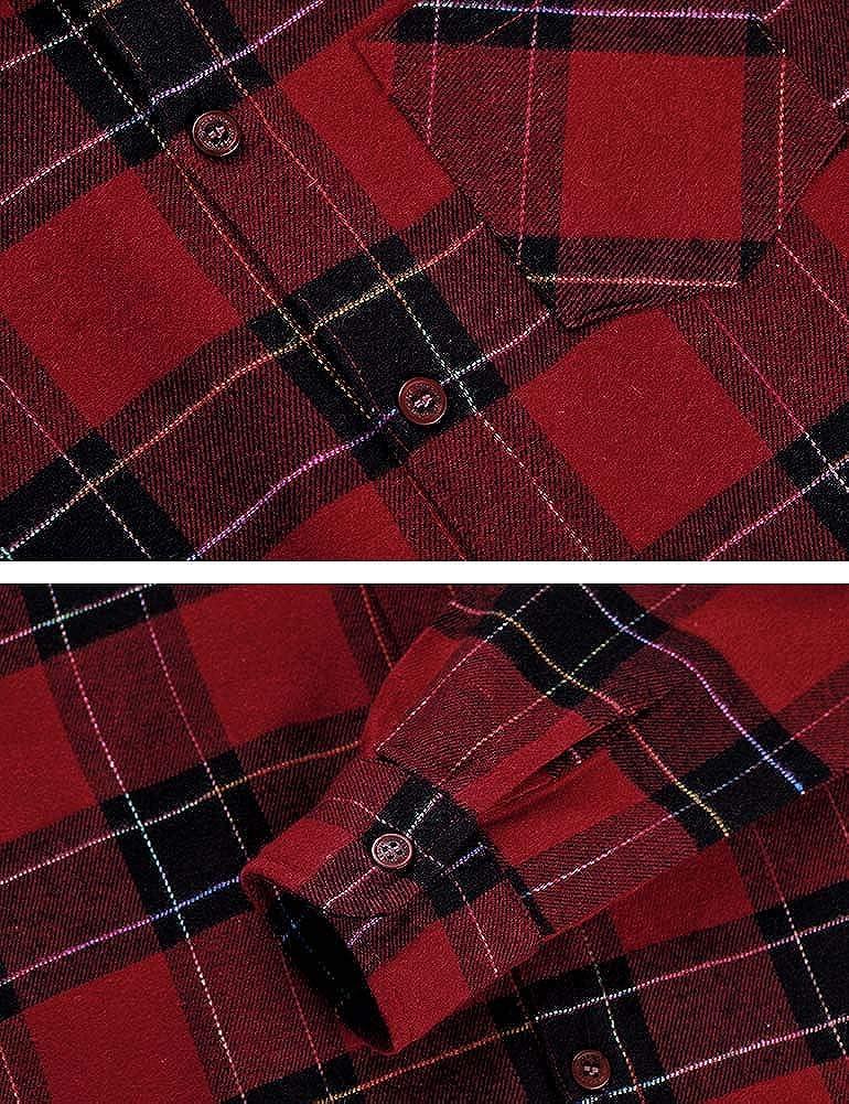 Spring/&Gege Camiseta de franela de manga larga para chico para ni/ños 5-14 a/ños con botones estilo informal