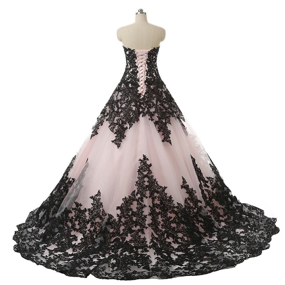 965855397263 Amazon.com: Pink and Black Applique Lace Quinceanera Ball Prom Dresses for  Wedding 2019: Handmade
