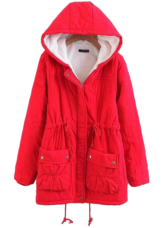 Chartou Women's Lovely Thicken Zip-Fly Hooded Lambswool Fleece Lined Long Jacket Coat Outwear
