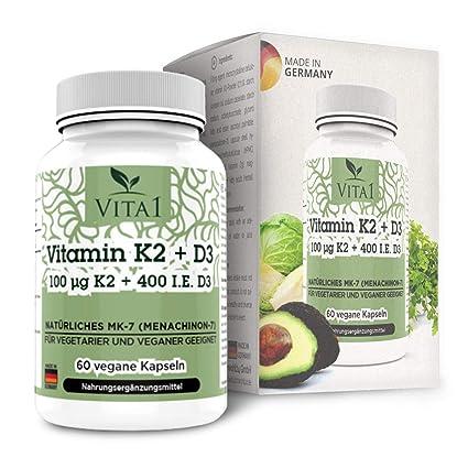 Cápsulas de Vitamina K2 100µg de VITA1 • 60 cápsulas (2 meses de suministro)