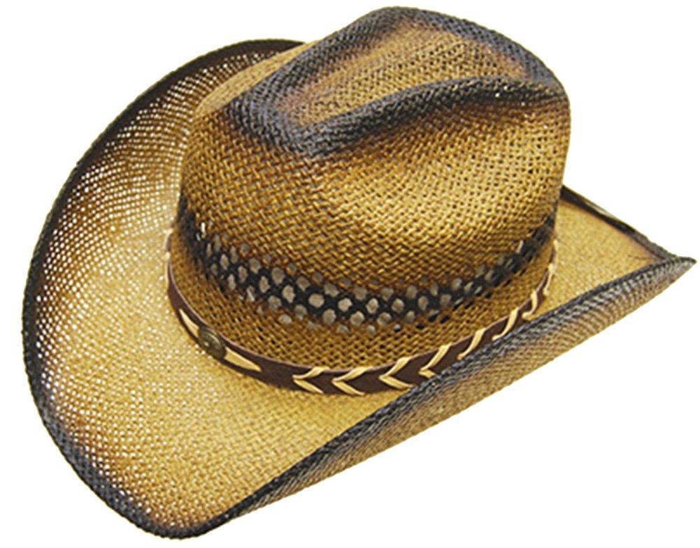 Modestone Unisex Straw Cowboy Hat Beige Black 1183-Size-Small