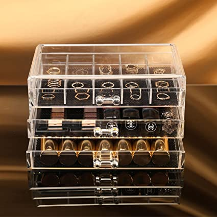 Amazoncom Choice Fun Square Acrylic 3 Drawers Makeup Organizer