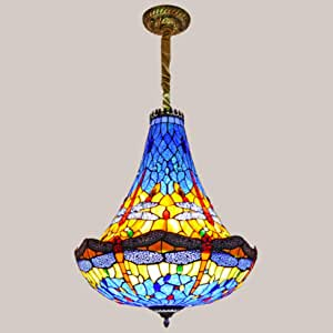 20 Inch Large Pendant Lighting Tiffany Style Stained Glass Dragonfly Lampshade Chandelier,European Style Retro Hanging Lamps Ceiling Light for Hotel Villa Living Room,Blue e27*5