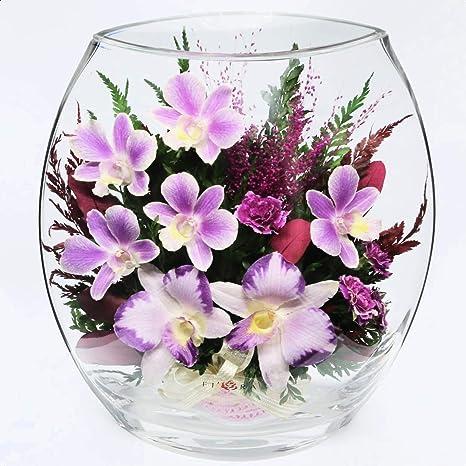 Amazon Com Palaney Mixed Floral Arrangements And Centerpiece In Decorative Vase Home Kitchen