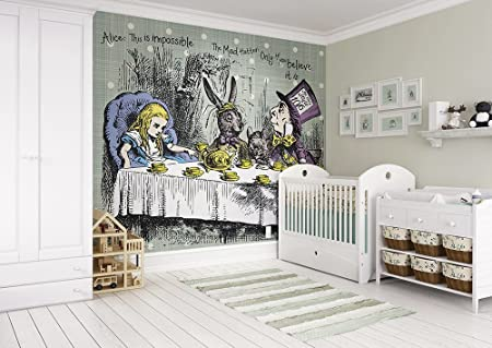 ohpopsi Alice in Wonderland Tea Party Wall Mural Paper Multi