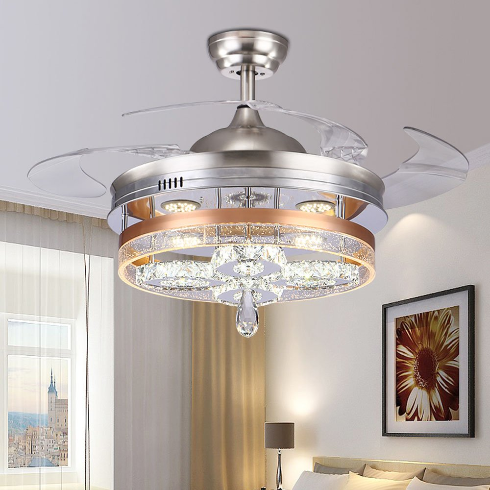 Huston Fan Modern Silver 42 Inch Simple Restaurant Fan Chandelier Invisible LED Crystal Ceiling Fan Lighting Remote Control Home Bedroom With 4 Acrylic Retractable Blades
