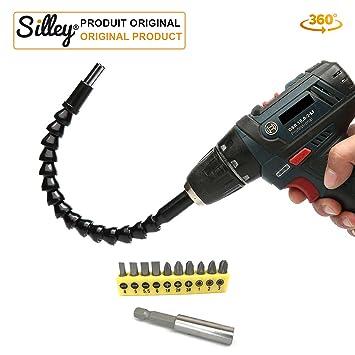 [Modelo original] Silley® Árbol de transmisión flexible imantado alargador con cardán 29,5 cm para taladradora atornillador destornillador (conector ...