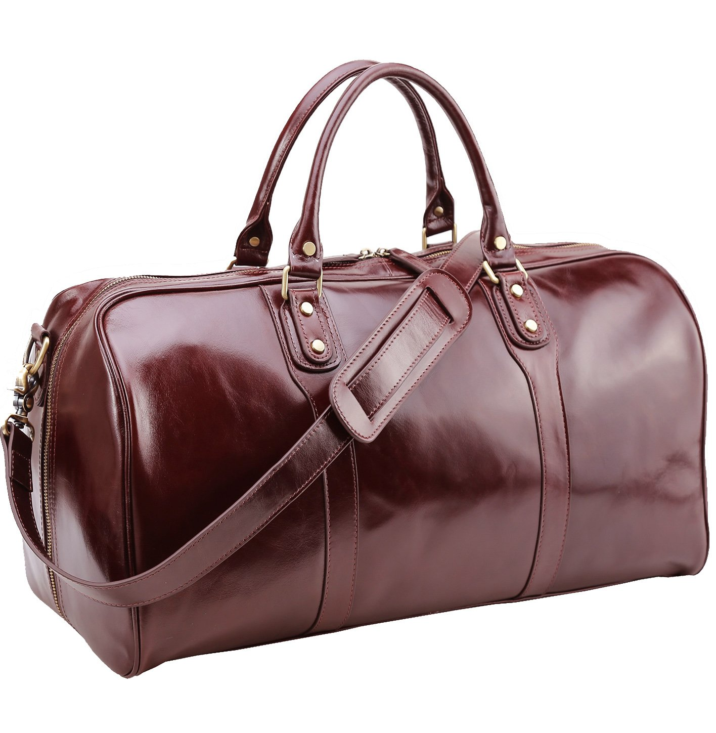 Polare 21'' Real Italian Leather Weekender Travel Overnight Luggage Duffel Bag