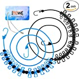 iTOWE 2Pack Portable Clothesline with 12 Pins, Travel Clothesline Stretchy Retractable Elastic Laundry Clothes Line with 12 Clothespins for Backyard, Vacation Hotel, Balcony Clothes Drying Line