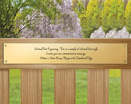 Brass Memorial Plaque For Garden Benches Personalised Commemorative Bench Plaque With Engraving 300 X 50mm Informal Font