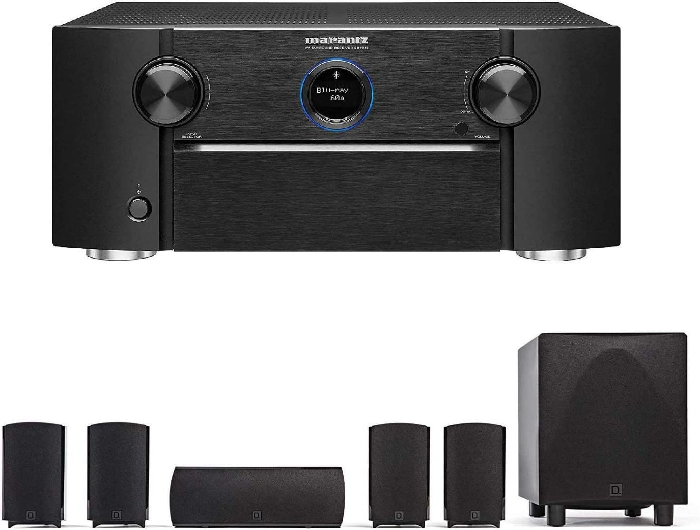Marantz SR7013 9.2 Channel Home Theater Receiver Definitive Technology ProCinema 6D - 5.1 Channel Home Theater Speakers Package|Powered Subwoofer, Center Channel & 4 Speakers| Bundle