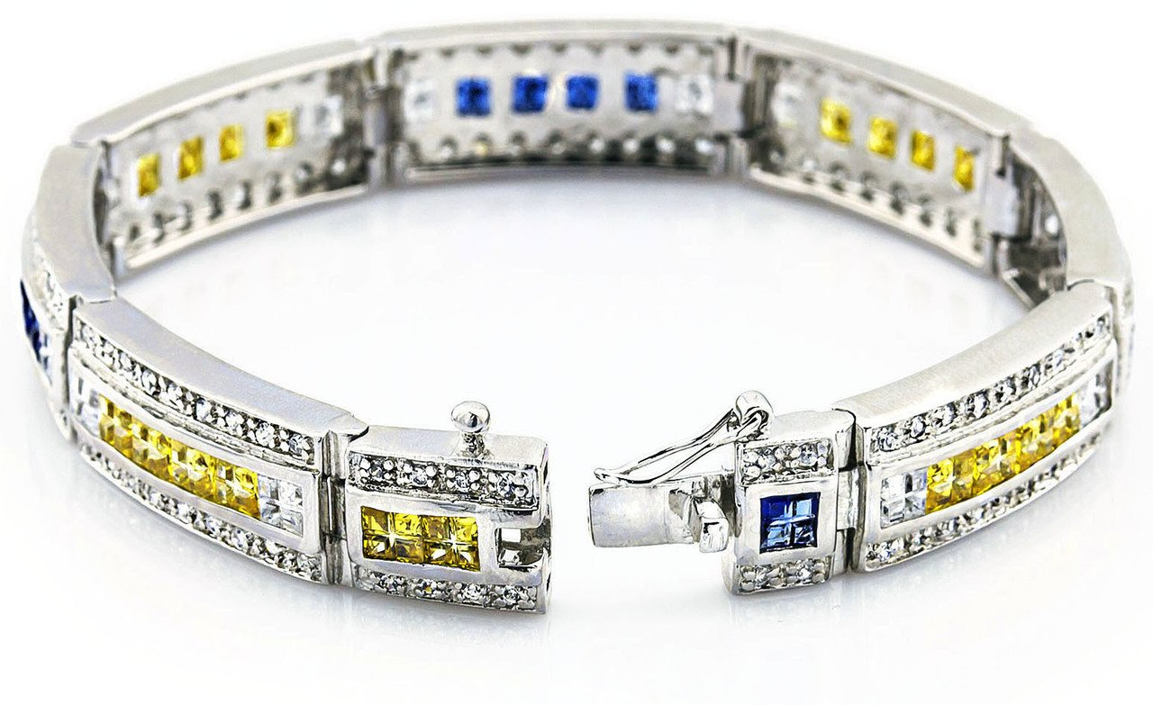 Men's Sterling Silver .925 Bracelet with Canary Yellow, Azure Blue and White Cubic Zirconia (CZ) Stones, Box Lock, Platinum Plated. 8'' or 9'' By Sterling Manufacturers by Sterling Manufacturers (Image #2)