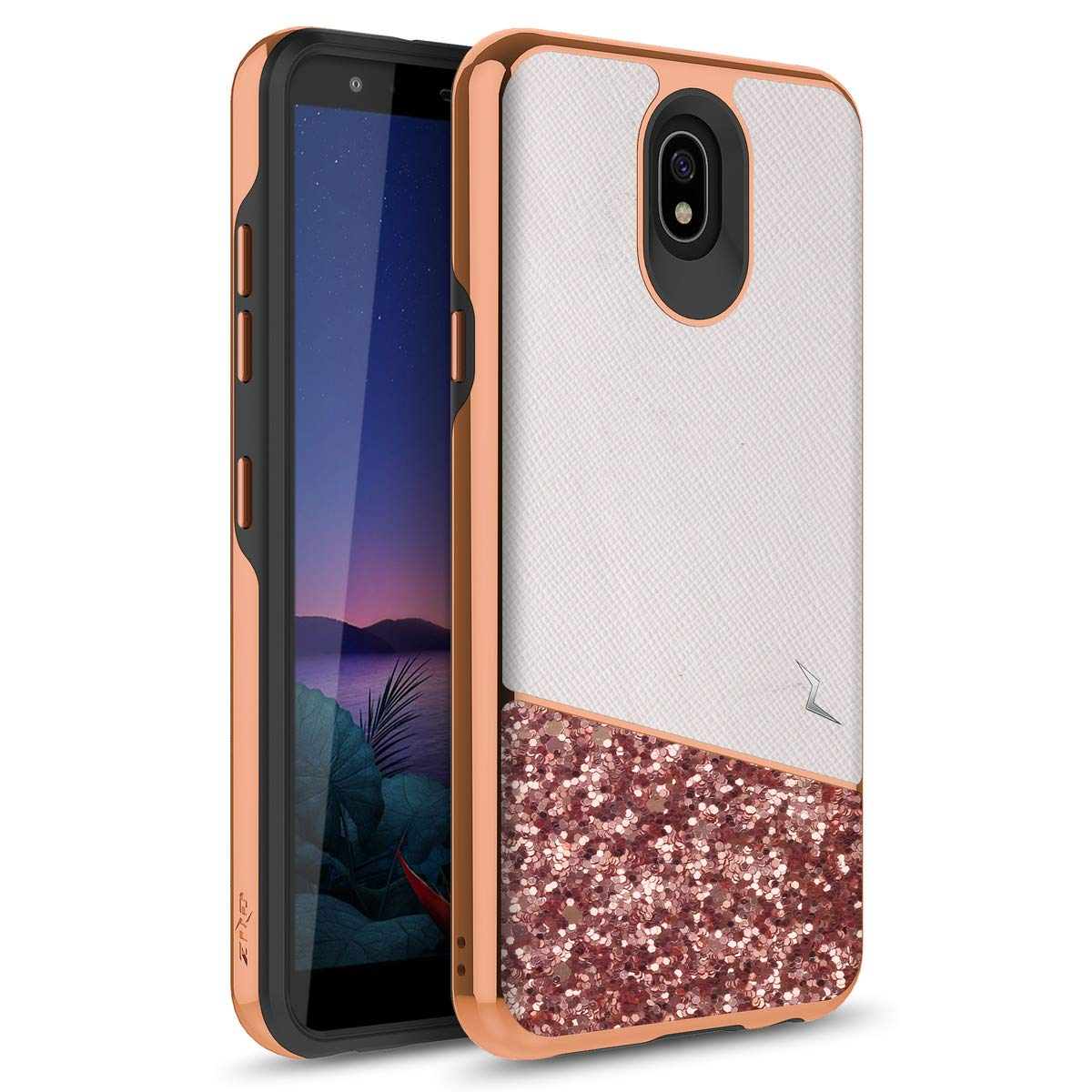 Phonelicious LG Escape Plus Case, LG Journey LTE Case Dual Layer Shockproof Glitter Slim Protective Hard Phone Cover for Girl Women Compatible with LG L322DL, X320 by Phonelicius