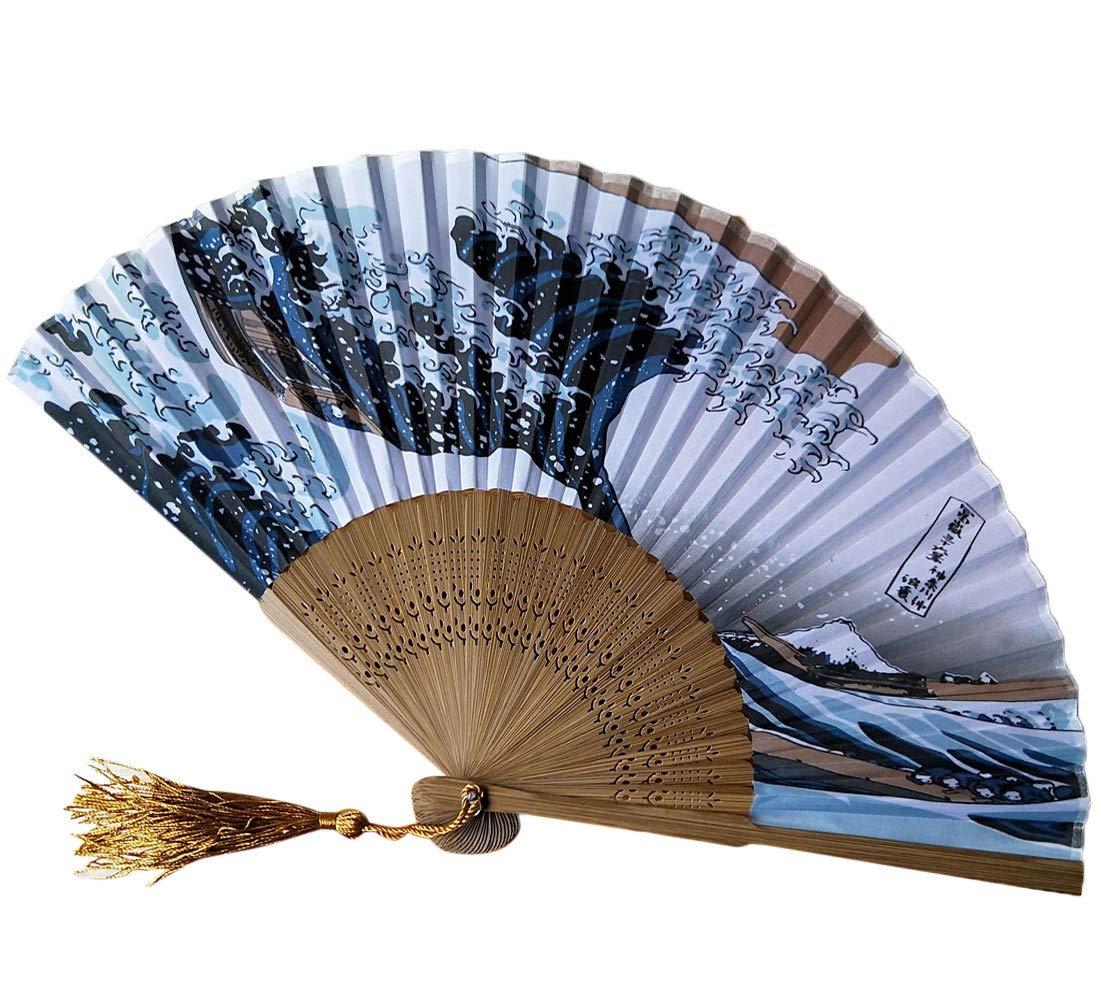 YJYdada Japanese Fridge Handheld Folding Fan with Traditional Japanese Ukiyo-e Art Print (A)