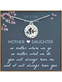 EFYTAL Mom Gifts, 925 Sterling Silver Mommy & Baby Bird Necklace for Mother & Daughter, Necklaces for Women, Best...